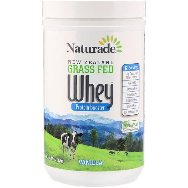 Naturade, Белковый ускоритель из сывороточного белка из молока новозеландских коров, питающихся травой, ваниль, 16,1 унции (456 г) (Discontinued Item)