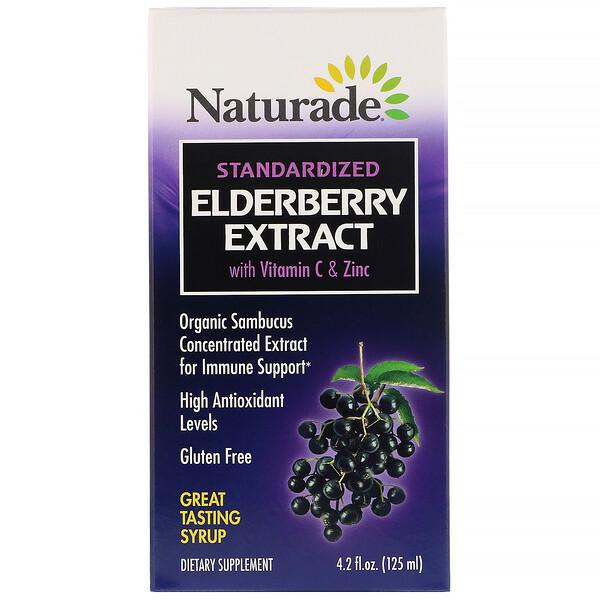 Naturade, Сироп из стандартизированного экстракта бузины с витаминомC и цинком, 125мл