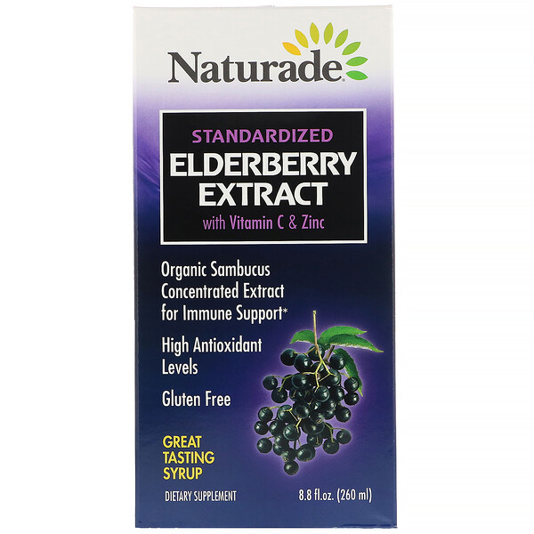 Naturade, Сироп из стандартизированного экстракта бузины с витаминомC и цинком, 260мл