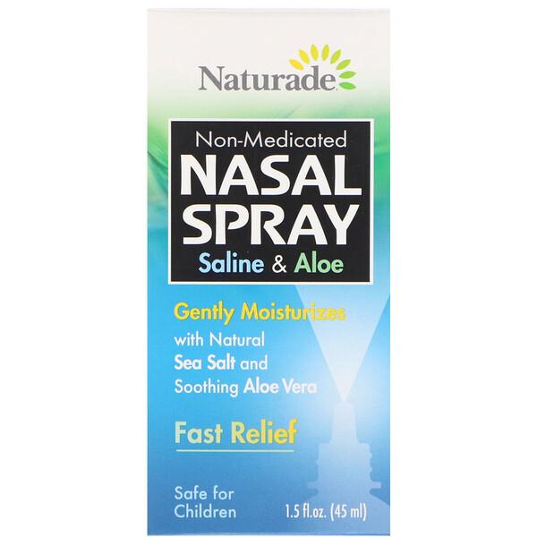 Спрей для носа, соляной раствор и алоэ, 1,5 жидкой унции (45 мл)
