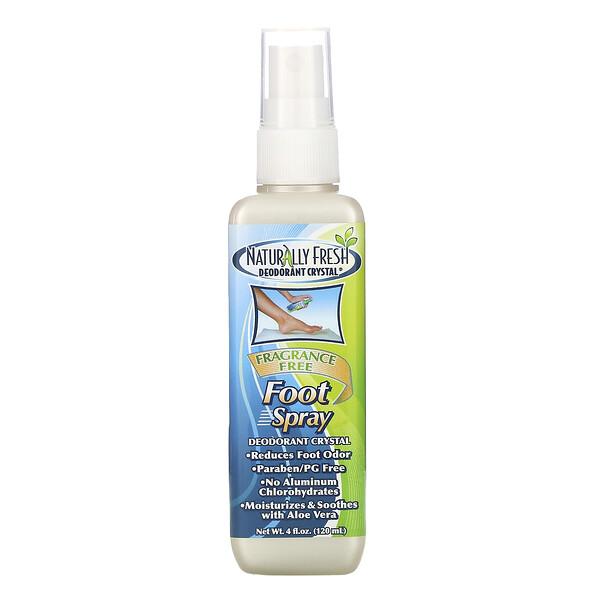 Foot Spray, Deodorant Crystal, Fragrance Free, 4 fl oz (120 ml)