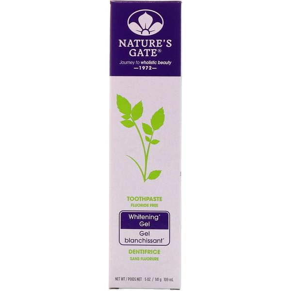 Nature's Gate, Отбеливающая зубная паста-гель, без фтора, 5 унций (141 г) (Discontinued Item)
