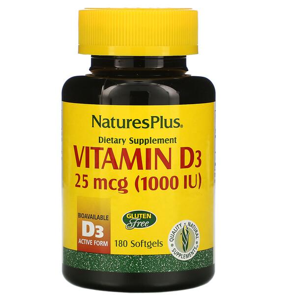 Nature's Plus, ВитаминD3, 25мкг (1000МЕ), 180капсул