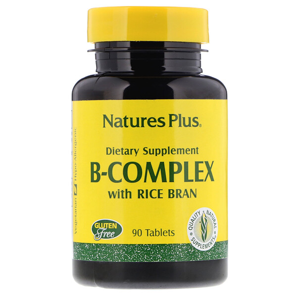 Nature's Plus, Комплекс витаминов группы B с рисовыми отрубями, 90 таблеток