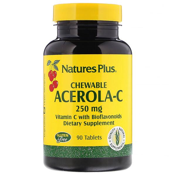 Nature's Plus, Ацерола-С, жевательные таблетки, 250 мг, 90 таблеток