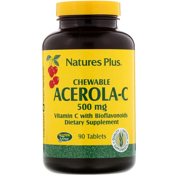 Ацерола-C в жевательной форме, витаминC с биофлавоноидами, 500мг, 90таблеток