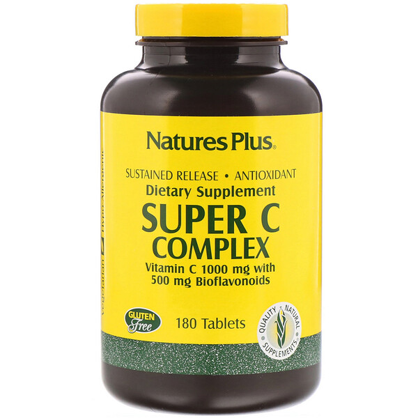 Супер комплекс витаминов С, 1000 мг витамина С с 500 мг биофлавоноидов, 180 таблеток