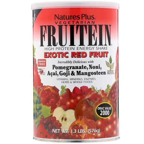 Nature's Plus, Фрутеин, энергетический коктейль с высоким содержанием белка, экзотические красные фрукты, 1,3 фунта (576 г) (Discontinued Item)