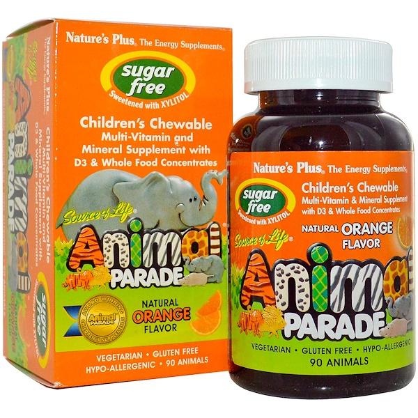 Nature's Plus, Source of Life, Animal Parade, Жевательный витамин для детей, Без Сахара, Натуральный Апельсиновый вкус 90 Animals (Discontinued Item)