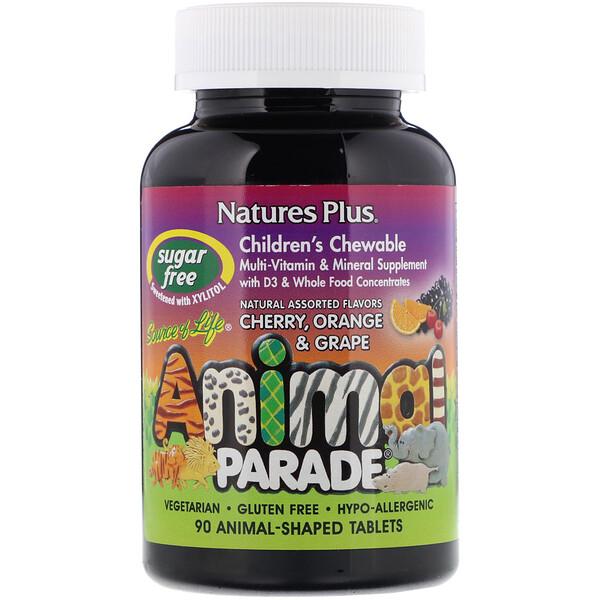Nature's Plus, Source of Life, Animal Parade, детские жевательные мультивитамины и минералы, различные натуральные ароматизаторы, 90 таблеток в форме животных