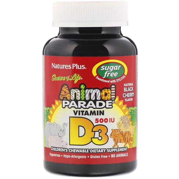 Nature's Plus, Source of Life, Animal Parade, витамин D3, без сахара, с натуральным вкусом черной вишни, 500 МЕ, 90 таблеток в форме животных