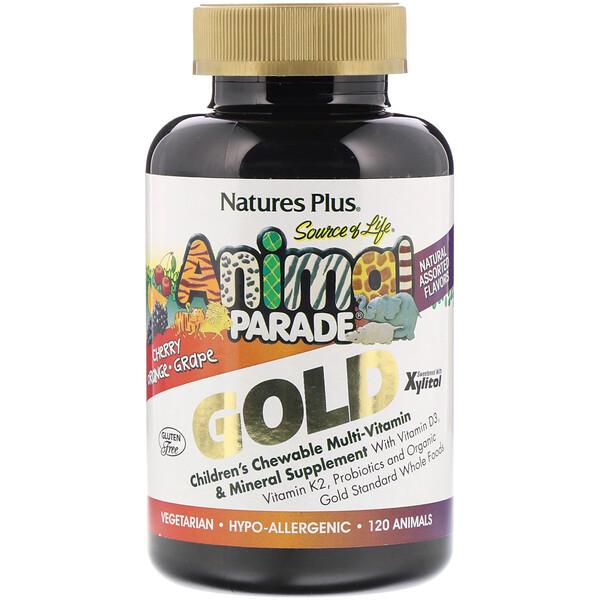 Nature's Plus, SourceofLife AnimalParadeGold, добавка для детей с мультивитаминами и минералами, ассорти из натуральных вкусов, 120таблеток в форме животных