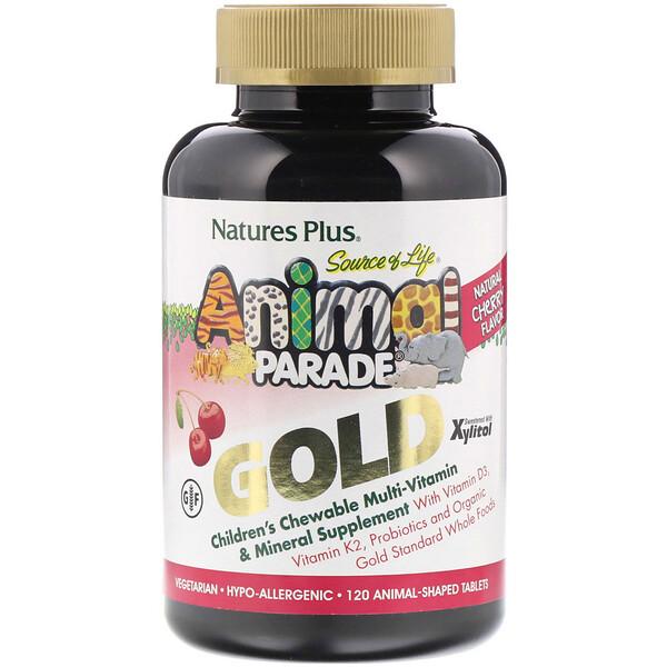 Nature's Plus, Source of Life, Animal Parade Gold, жевательная добавка для детей с мультивитаминами и минералами, натуральный ароматизатор со вкусом вишни, 120 таблеток в форме животных