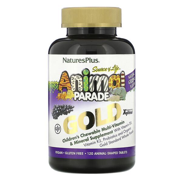 Nature's Plus, Source of Life, Animal Parade Gold, жевательная добавка для детей с мультивитаминами и минералами, натуральный ароматизатор со вкусом винограда, 120 таблеток в форме животных