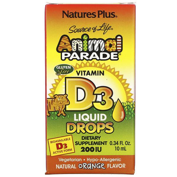 Source of Life, «Парад животных», витамин D3, жидкие капли, натуральный апельсиновый вкус, 200 МЕ, 0,34 жидк. унций (10 мл)