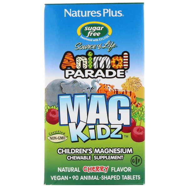 Animal Parade, MagKidz, магний для детей, натуральный вишневый вкус, 90таблеток в форме животных