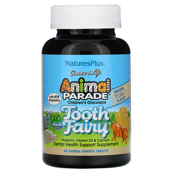 Source of Life, Animal Parade, Children's Chewable Tooth Fairy Probiotic with M18 Probiotics, Natural Vanilla Flavor, 90 Animal-Shaped Tablets