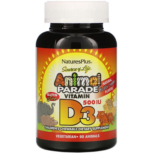 Nature's Plus, Source of Life, Animal Parade, витамин D3, вкус натуральной черемухи, 500 МЕ, 90 животных