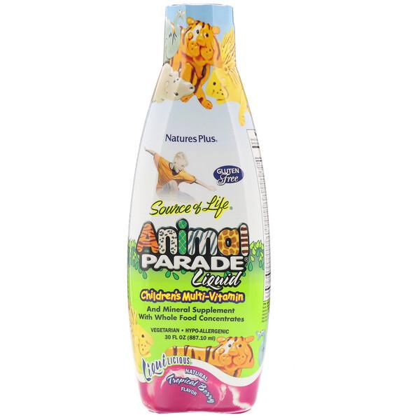 Nature's Plus, Source of Life, детский жидкий мультивитамин Animal Parade с натуральным вкусом тропических ягод, 887,10 мл (30 жидких унций)