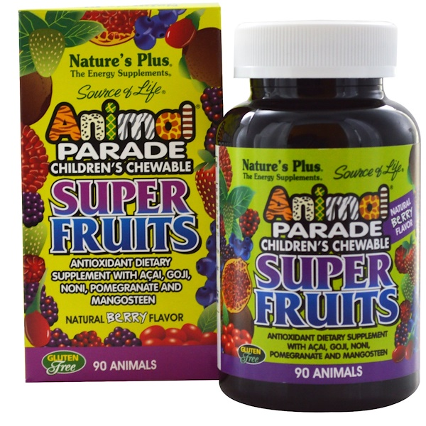Nature's Plus, Source of Life Animal Parade, Children's Chewable Super Fruits, Natural Berry, 90 Animals (Discontinued Item)