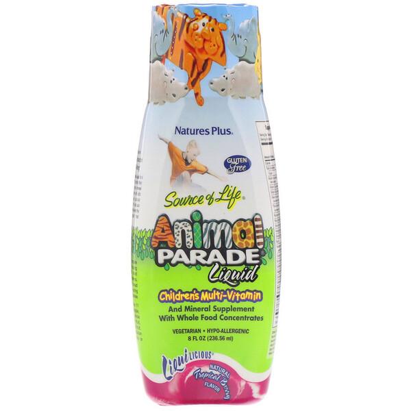 Источник жизни, парад животных, жидкий, детский мультивитамин, природный тропический ароматизатор, 236,56 мл (8 жидких унций)