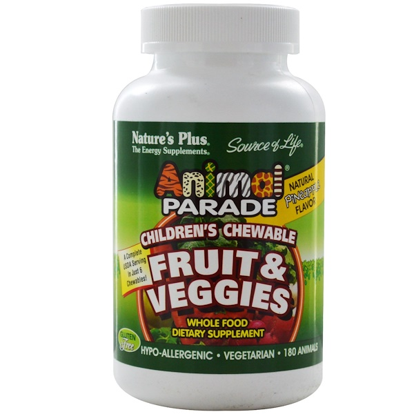 Nature's Plus, Source of Life Animal Parade, Fruit & Veggies, Children's Chewable, Natural Pineapple Flavor, 180 Animals (Discontinued Item)