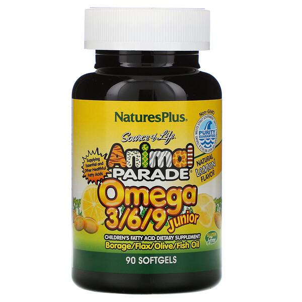 Source of Life, Animal Parade, омега 3/6/9 юниор, натуральный лимонный вкус, 90 мягких таблеток