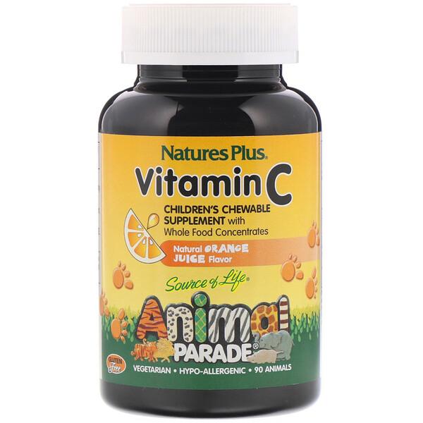 Source of Life, Animal Parade, витаминC, жевательная добавка для детей, вкус натурального апельсинового сока, 90таблеток в форме животных