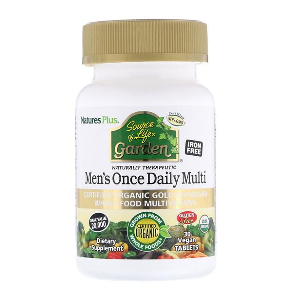 Source of Life Garden, мультивитамины для мужчин для приема один раз в день, 30 веганских таблеток