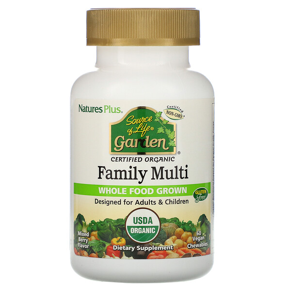 Nature's Plus, Source of Life, Garden, Organic Family Multi, Mixed Berry Flavor, 60 Vegan Chewables