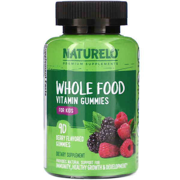NATURELO, Whole Food Vitamin Gummies for Kids, Berry Flavored, 90 Gummies