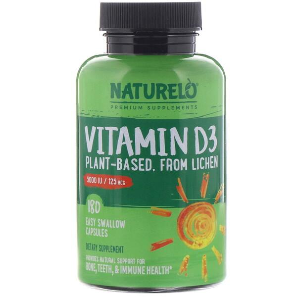 NATURELO, ВитаминD3, на растительной основе, 5000МЕ/ 125мкг, 180капсул, которые легко глотать