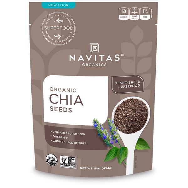 Navitas Organics, Органические семена чиа, 454г