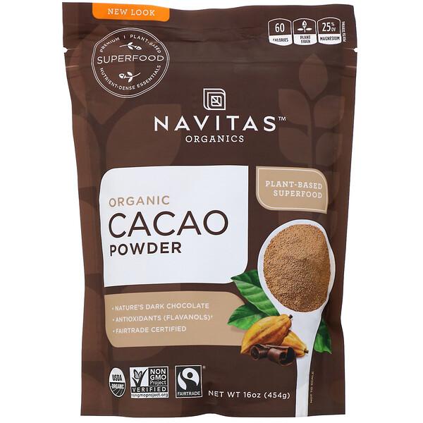 Navitas Organics, Органический какао-порошок, 454г (16унций)