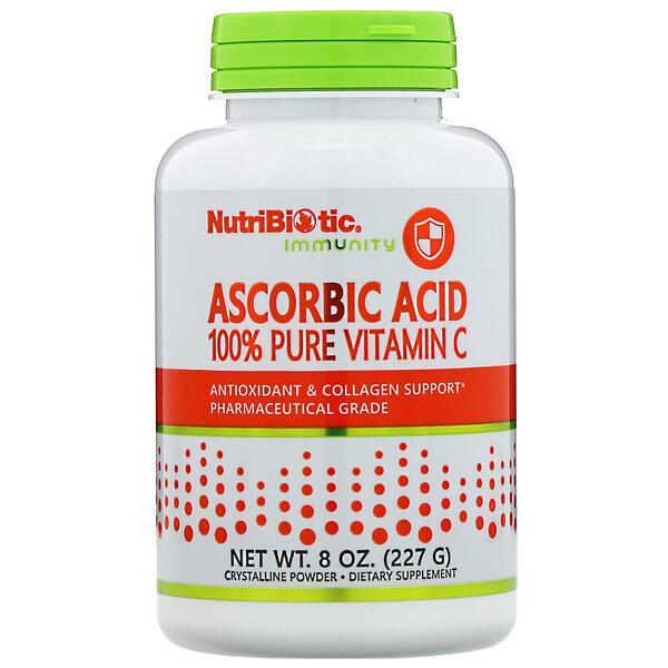 Аскорбиновая кислота, 100 % чистый витамин С, кристаллический порошок, 227 г (8 унций)