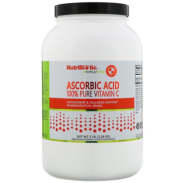 Immunity, аскорбиновая кислота, 100% чистый витаминC, кристаллический порошок, 2.26кг (5фунтов)