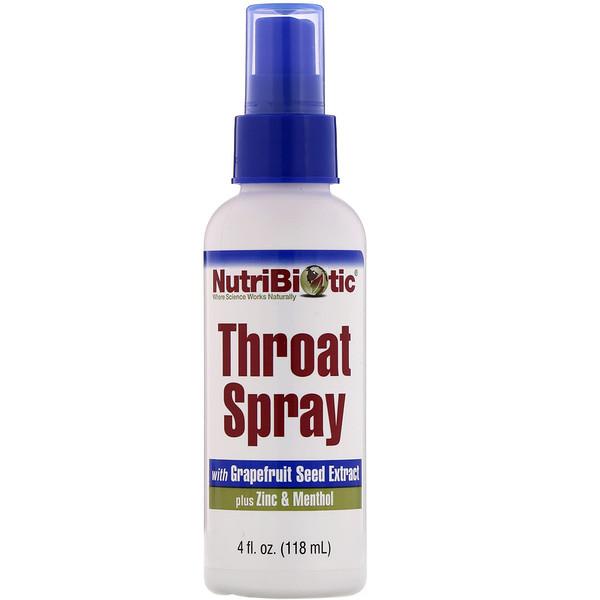 NutriBiotic, Спрей для горла с экстрактом косточек грейпфрута, цинком и ментолом, жидкий концентрат, 118мл (4жидк.унции)