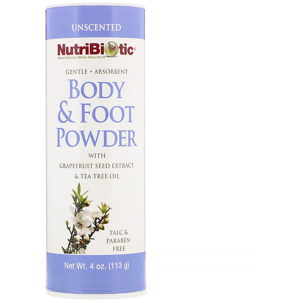 Body & Foot Powder with Grapefruit Seed Extract & Tea Tree Oil, Unscented, 4 oz (113 g)