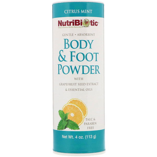 Порошок для тела и ног с экстрактом семечек грейпфрута и эфирными маслами, Цитрус и мята, 4 унц. (113 г)