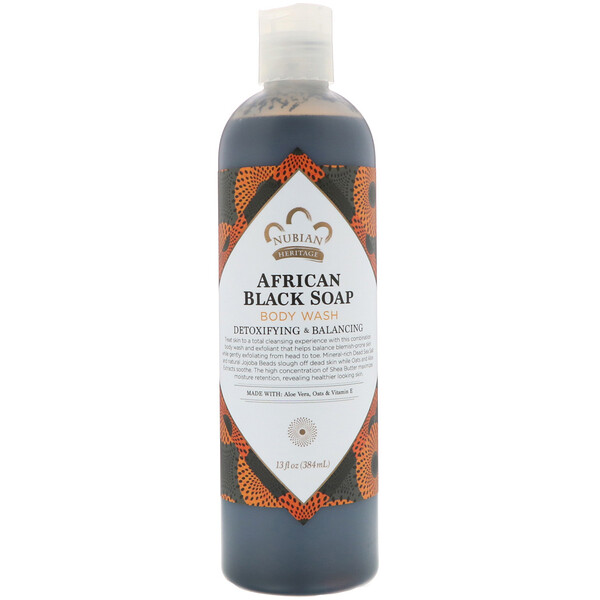 Nubian Heritage, Средство для мытья тела, африканское черное мыло, 384 мл