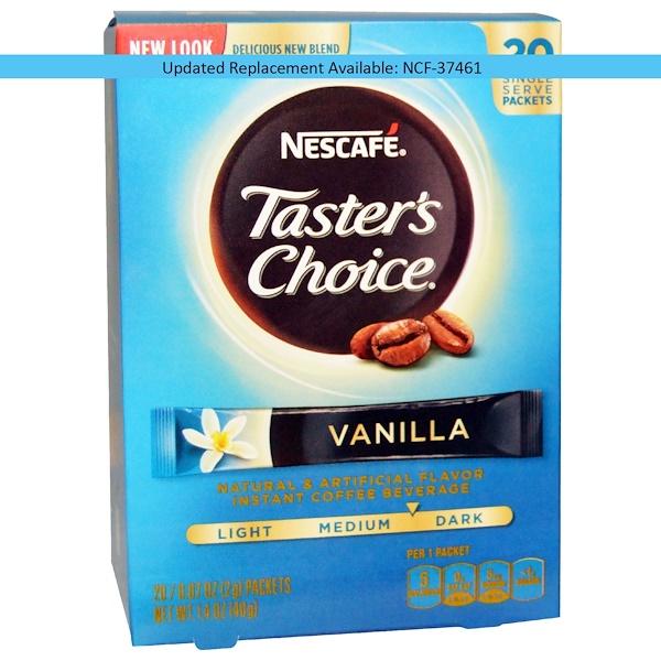 Nescafé, Taster's Choice, растворимый кофейный напиток, ваниль, 20 пакетиков, 0,07 унций (2 г) каждый (Discontinued Item)
