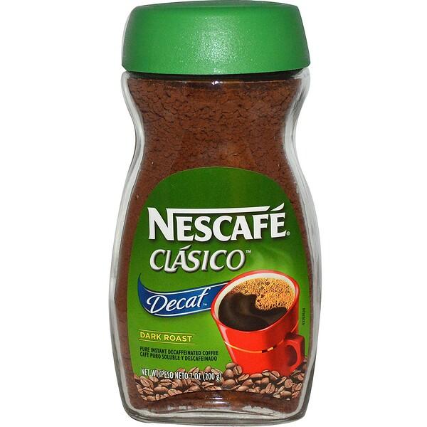 Nescafé, Clasico, чистый растворимый кофе без кофеина, темная обжарка, 200 г (7 унций)