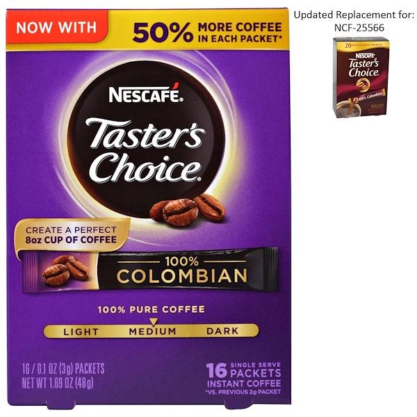 Taster's Choice, растворимый кофе, 100% колумбийский, 16 порционных пакетиков, по 0,1 унции (3 г) каждый