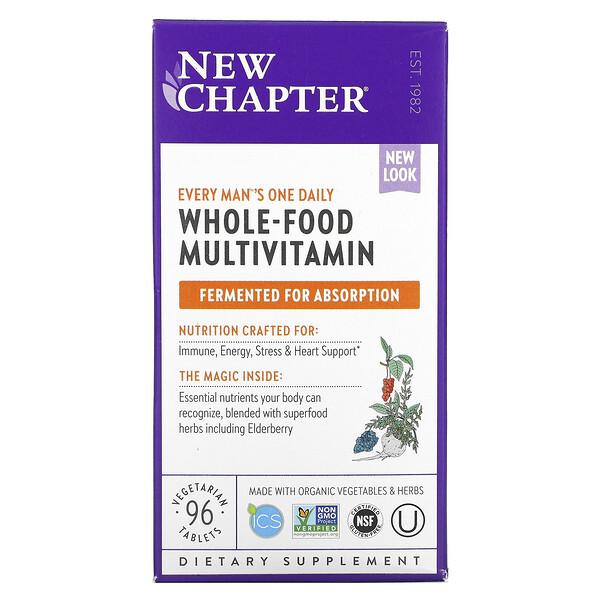 New Chapter, Every Man's One Daily Multi, мультивитаминная добавка из цельных продуктов для мужчин, 96вегетарианских таблеток