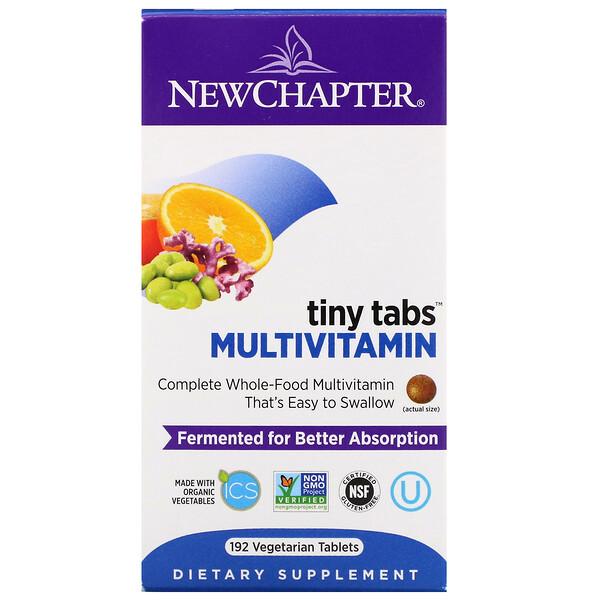 Multivitamin Tiny Tabs, полный витаминный комплекс на основе цельных продуктов, 192 вегетарианских таблетки