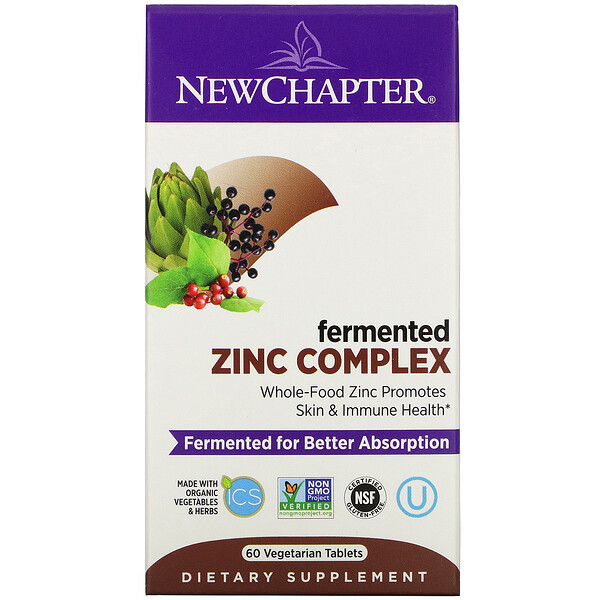 New Chapter, Комплекс ферментированного цинка, 60 вегетарианских таблеток