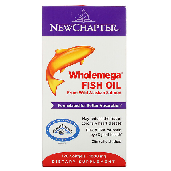 Wholemega Fish Oil, From Wild Alaskan Salmon, 1,000 mg, 120 Softgels