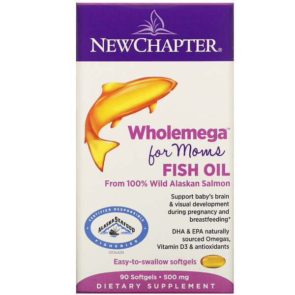 Wholemega for Moms Fish Oil, From Wild Alaskan Salmon, 500 mg, 90 Softgels