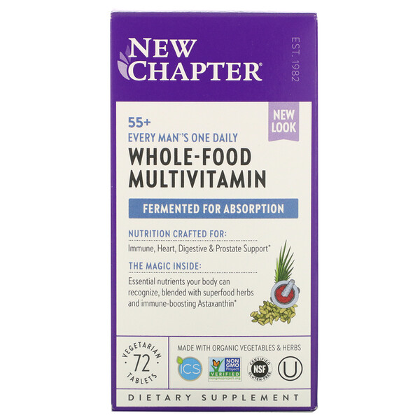 New Chapter, Every Man's One Daily Multi, мультивитамины для мужчин старше 55лет, 72вегетарианские таблетки
