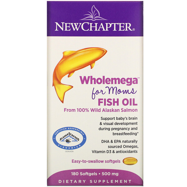 New Chapter, Wholemega for Moms Fish Oil, From Wild Alaskan Salmon, 500 mg, 180 Softgels